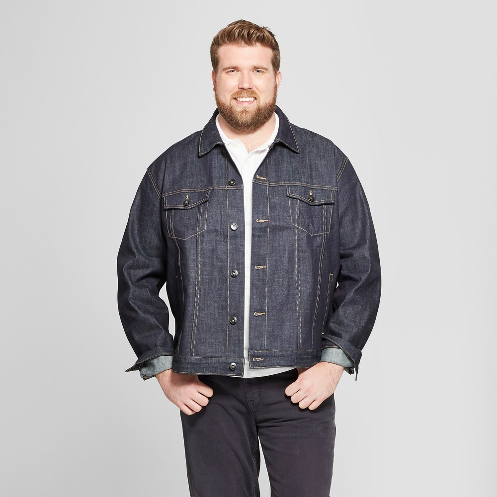 Men's Tall Selvedge Denim Jacket - Goodfellow & Co Dark Rinse LT, Blue