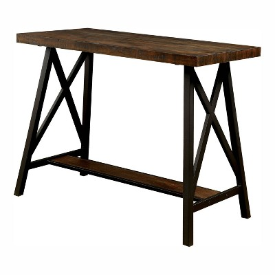"47"" Brenter Counter Height Table Weathered Medium Oak/Black - HOMES: Inside + Out"