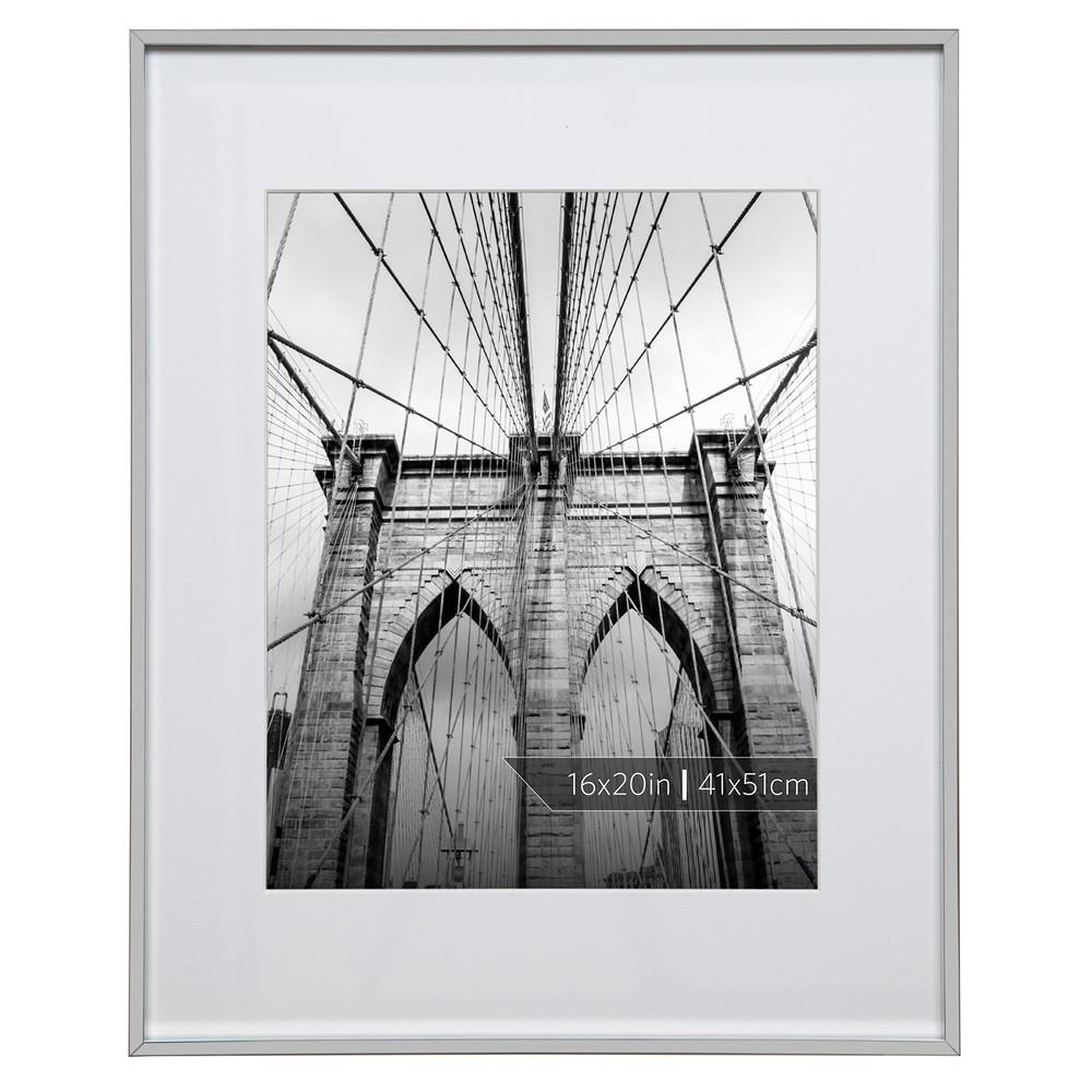 """Image of """"Burnes of Boston 11"""""""" x 14"""""""" Aluminum Gallery in Polished Finish Matte Single Picture Frame Silver"""""""
