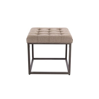"18"" Square Button Tufted Metal Ottoman - WOVENBYRD"