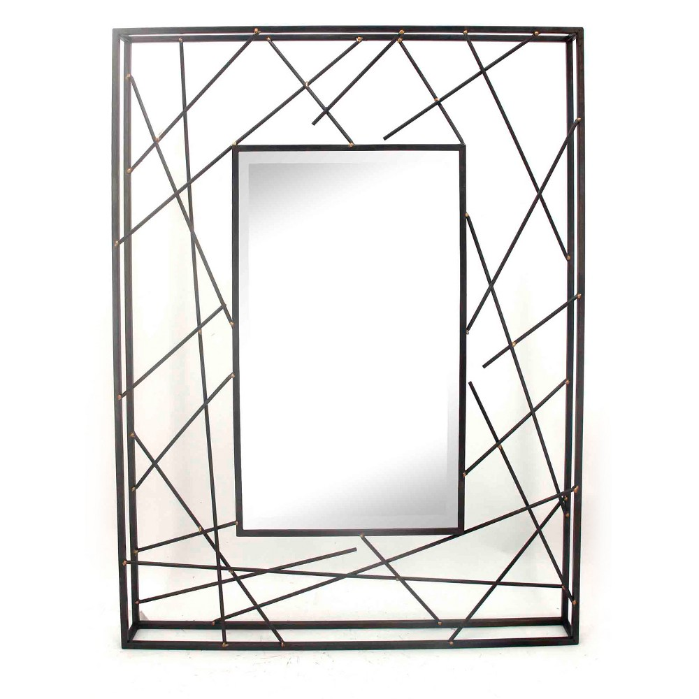 "Image of ""28""""x37.8"""" Rectangle Decorative Wall Mirror Cast Iron - Home Source, Gray"""