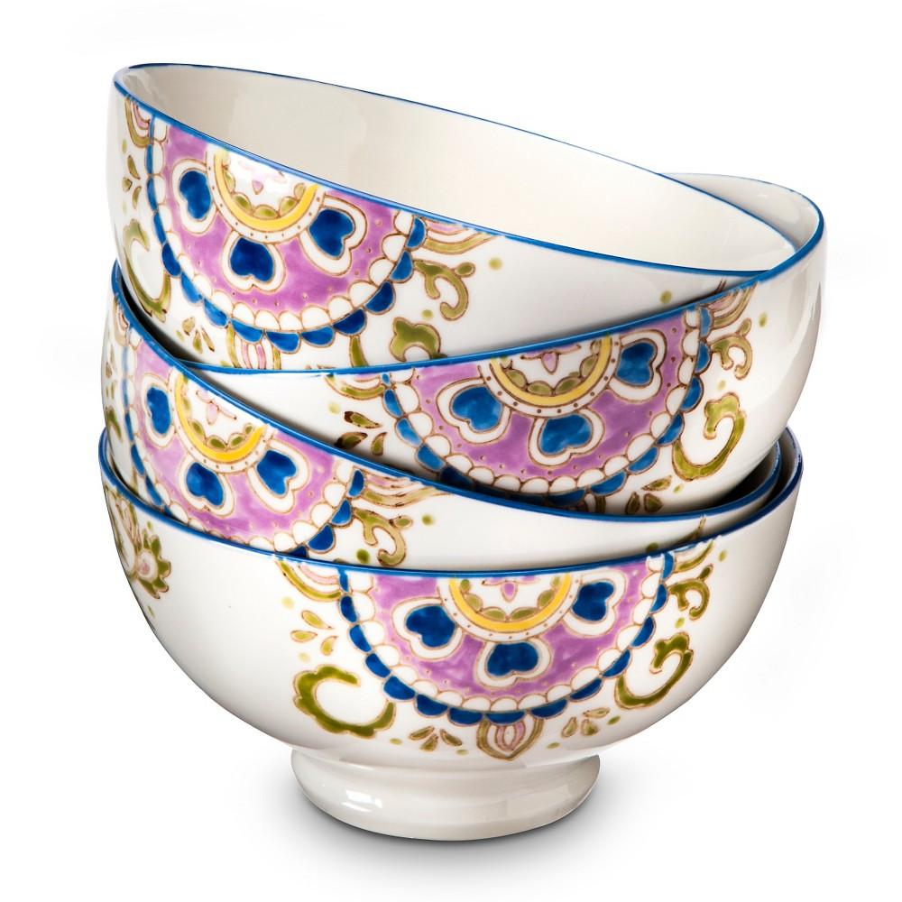 Rosana Medallion Stoneware Bowls 18oz Cream - Set of 4