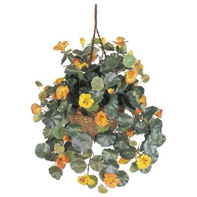 "29"" x 22"" Artificial Nasturtium in Hanging Basket Yellow - Nearly Natural"