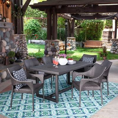 Abbott 7pc Wicker Dining Set - Gray - Christopher Knight Home