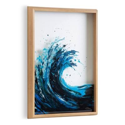 "18"" x 24"" Blake Waves Framed Printed Glass Natural - Kate and Laurel"