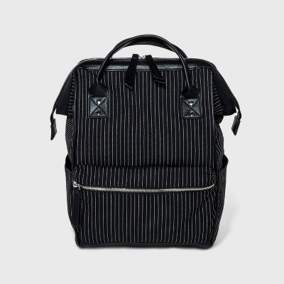 Striped Printed Canvas Frame Backpack   Wild Fable Black by Wild Fable Black