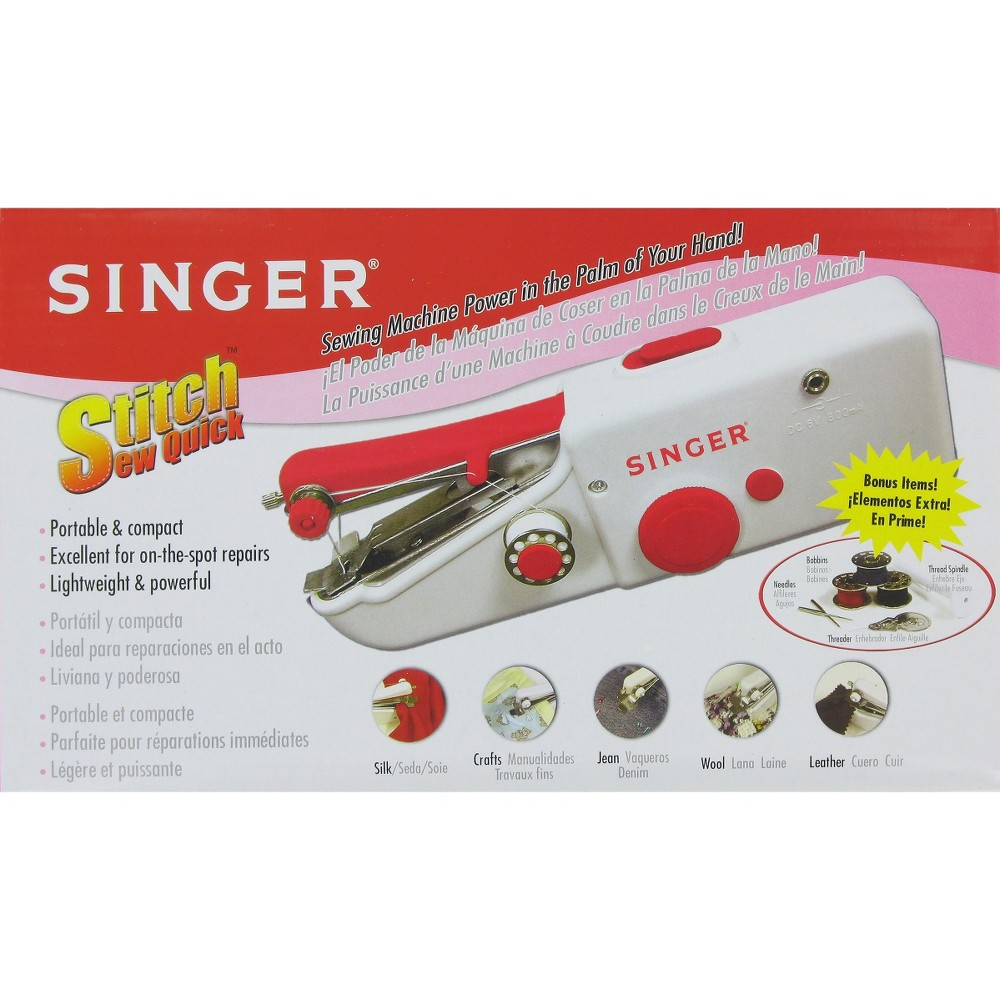 Singer Stitch Sew Quick Handheld Sewing Machine, White Get a quick sewing fix in the palm of your hand with a Singer Stitch Sew Quick Handheld Sewing Machine. This hand sewing machine is ideal for small projects, last-minute repairs, crafts and scrapbooking. Compact and lightweight, it comes with everything you need: pre-threaded bobbins, needles, a needle threader and thread spindle. Plus, this portable sewing machine works with most kinds of fabrics, including silk, denim, leather and wool. It uses 4 AA batteries (sold separately). Color: White.