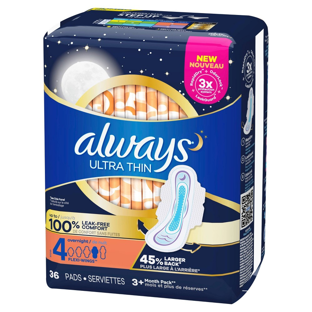 Always Ultra Thin Overnight Pads With Wings Unscented Size 4 36ct