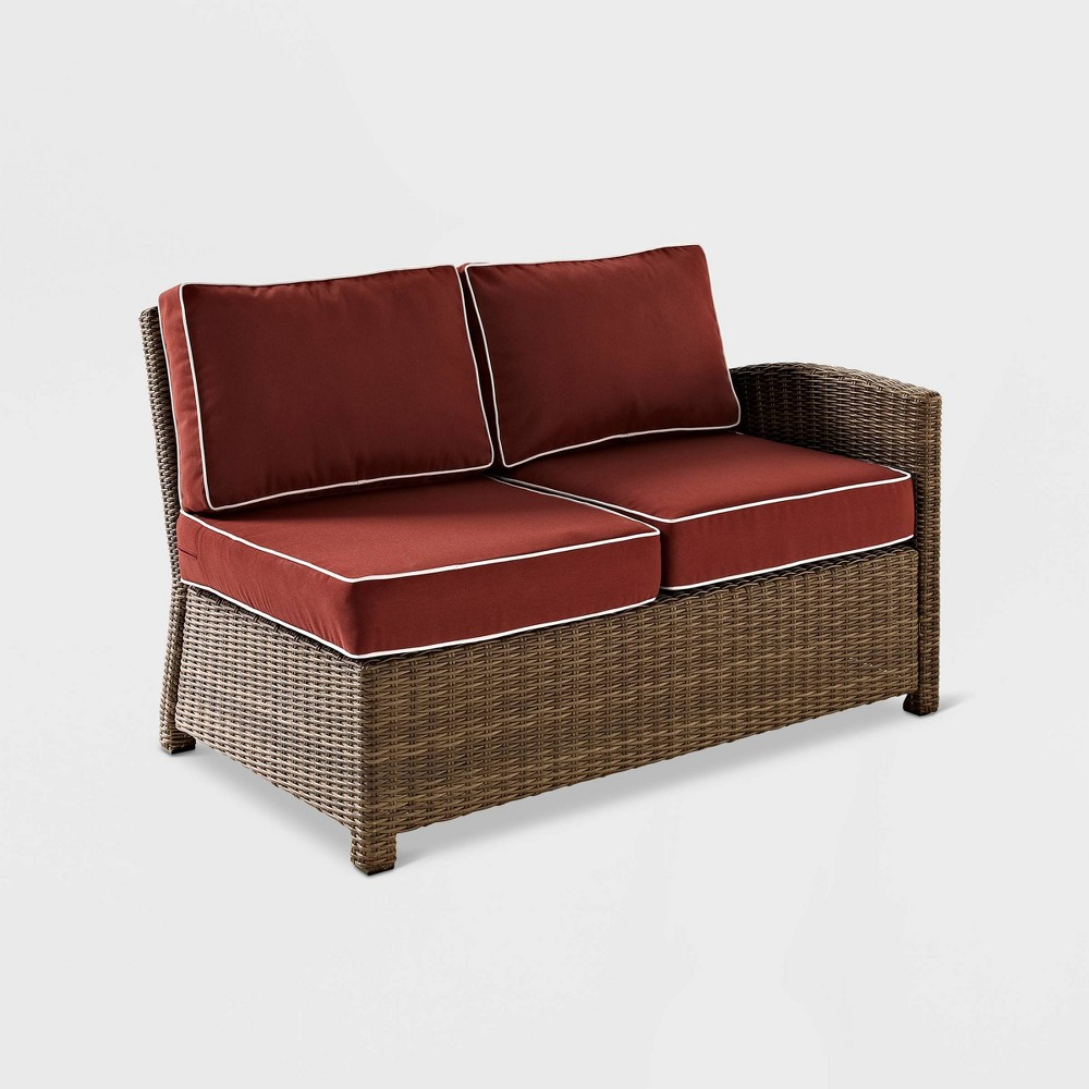 Bradenton Wicker Outdoor Patio Loveseat Sectional - Maroon/Brown (Red/Brown) - Crosley
