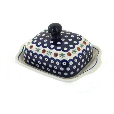 Blue Rose Polish Pottery Nature Square Butter Dish - image 1 of 1