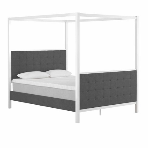 Queen Bowery Velvet Upholstered Metal Canopy Bed White Cosmoliving By Cosmopolitan Target