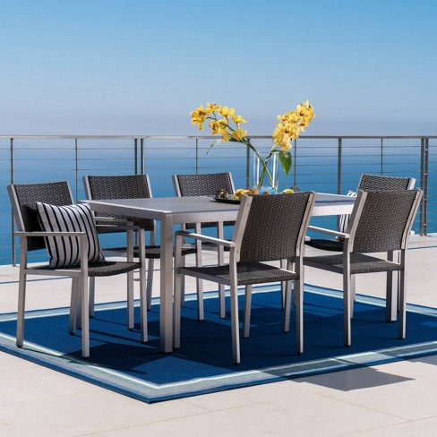 Cape Coral 7pc Aluminum Wicker Glass Outdoor Patio Dining Set Silver Gray Christopher Knight Home Target