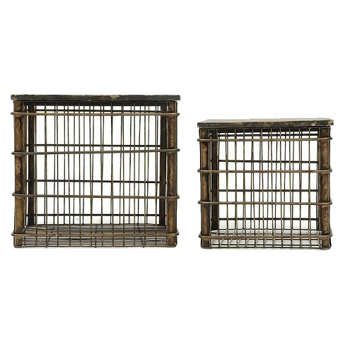 Metal Baskets w Wood Tops - Black Set of 2 - 3R Studios - image 1 of 1