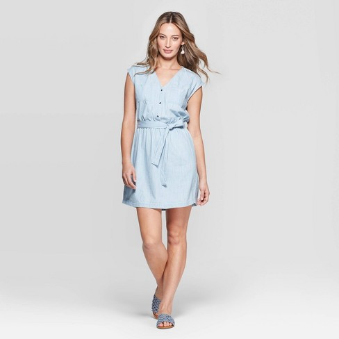 Image result for Women's Short Sleeve V-Neck Belted Denim Dolman Dress - Universal Thread™