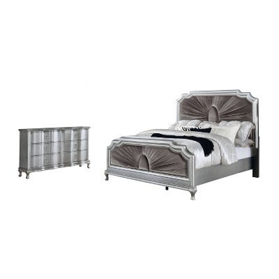 2pc Bentlee Bed and Dresser Set Silver/Warm Gray - HOMES: Inside + Out