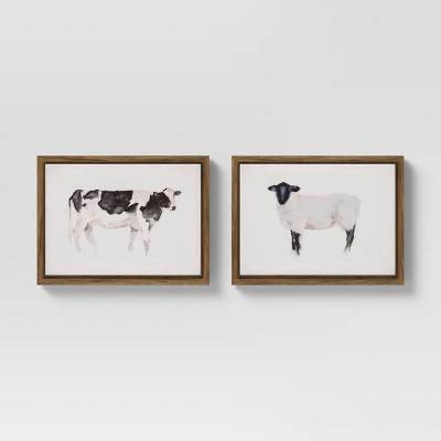 "(Set of 2)16"" x 20"" Farm Animals Framed Wall Canvas - Threshold™"