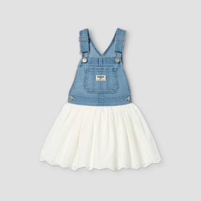 OshKosh B'gosh Toddler Girls' Eyelet Denim Dress - Blue/White