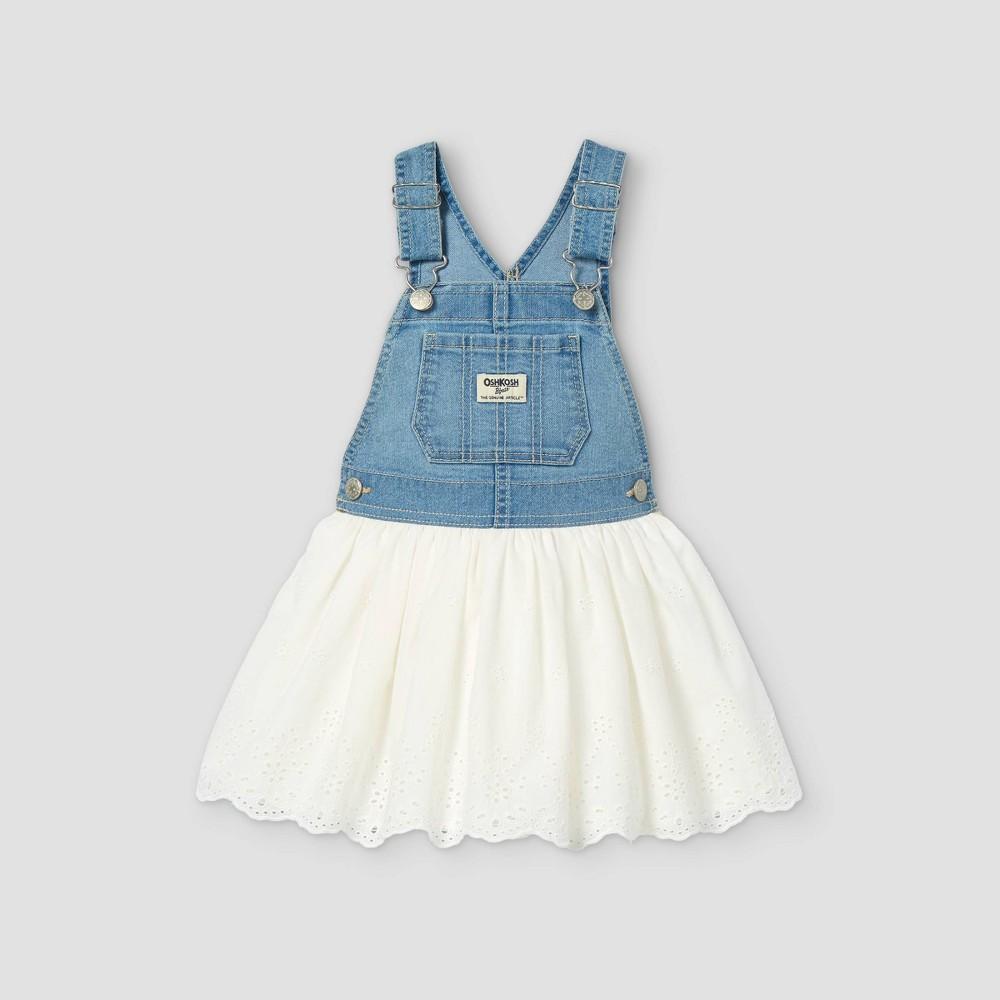 Oshkosh B 39 Gosh Toddler Girls 39 Eyelet Denim Dress Blue White 4t