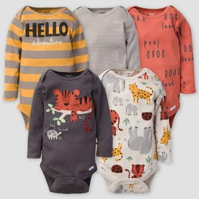 Gerber Baby Boys' 5pk Safari Long Sleeve Onesies - Orange/Gray 0-3M