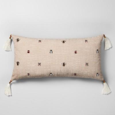 Beaded Bug Oversize Lumbar Throw Pillow Neutral - Opalhouse™