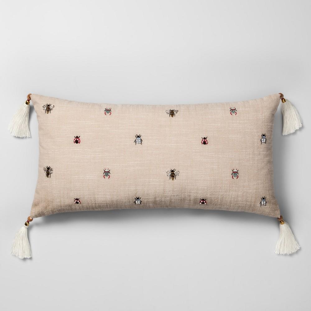 Beaded Bug Oversize Lumbar Throw Pillow Neutral - Opalhouse