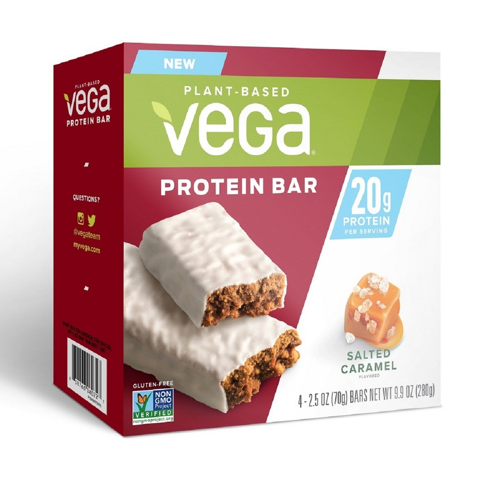 Vega High Protein Bar - Salted Caramel - 4ct Vega 20g Protein Bar is a delicious way to get more protein. Made with real plant-based food ingredients this is fuel you can feel good about. Fight hunger on-the-go any time of the day with mouthwatering Chocolate Peanut Butter, and Salted Caramel flavors. Age Group: Adult.