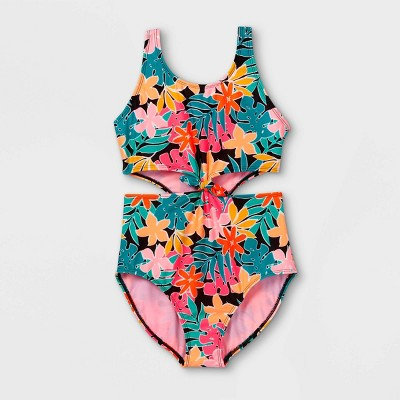 Girls' Tropical Floral Print Tie-Front One Piece Swimsuit - art class™