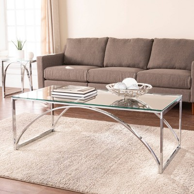 Kalb Glass Top Cocktail Table Chrome - Aiden Lane