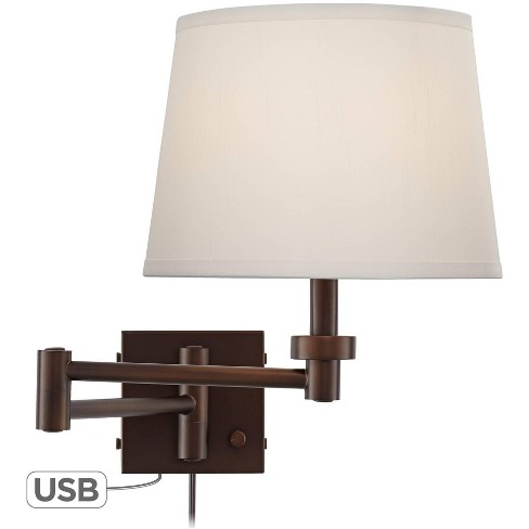 360 Lighting Modern Swing Arm Wall Lamp with USB Charging Port Oiled Bronze Plug-In Light Fixture Cream Drum Shade Bedroom Bedside - image 1 of 4
