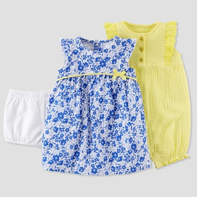 Baby Girls' 2pk Floral Dress and Romper Set - Just One You® made by carter's Yellow Newborn
