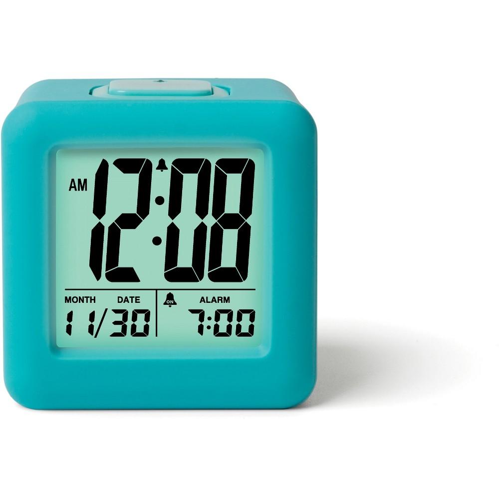 Image of Rubber Cube Calendar Smart Light Table Clock Aqua - Timelink