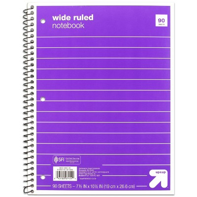 Spiral Notebook 1 Subject Wide Ruled Basic Paperboard Cover 90 Sheets - up & up™