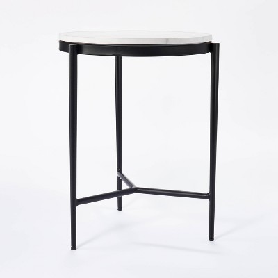 Pleasant Grove Round Marble End Table White - Threshold™ designed with Studio McGee