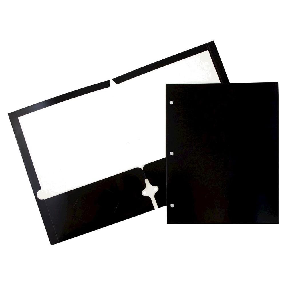 Jam 6pk 3 Hole Punch 2 Pocket Glossy Paper Folder Black
