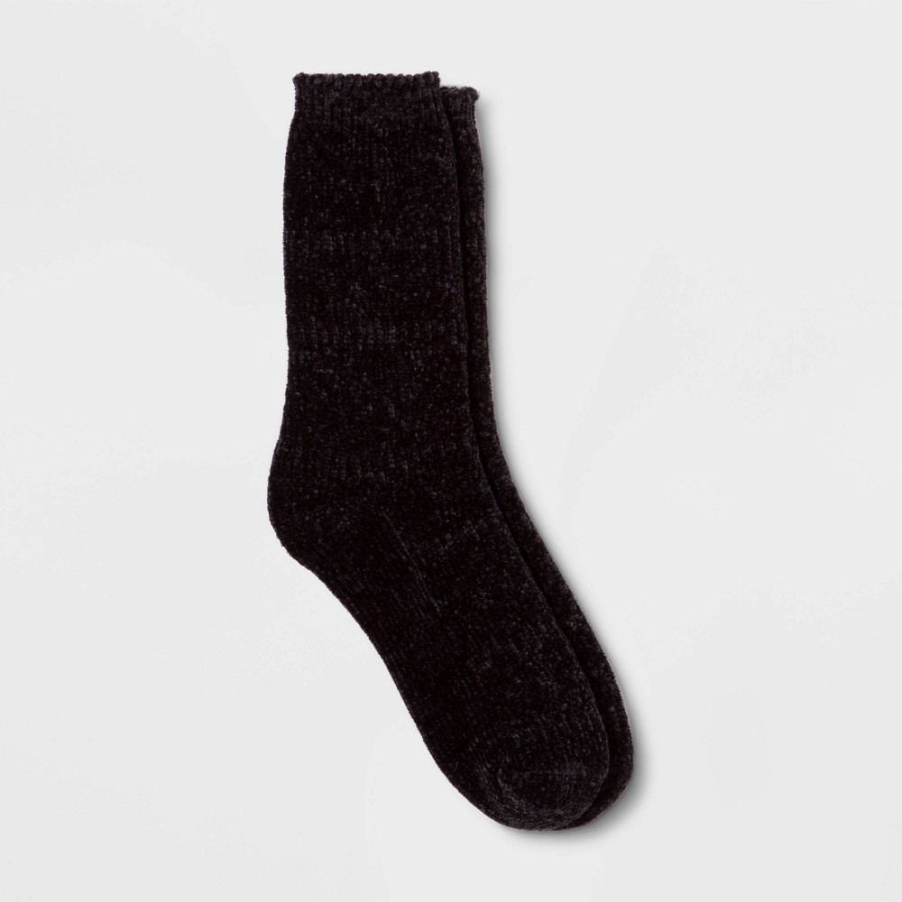 Image of Women's Textured Chenille Crew Socks - A New Day Black One Size, Women's