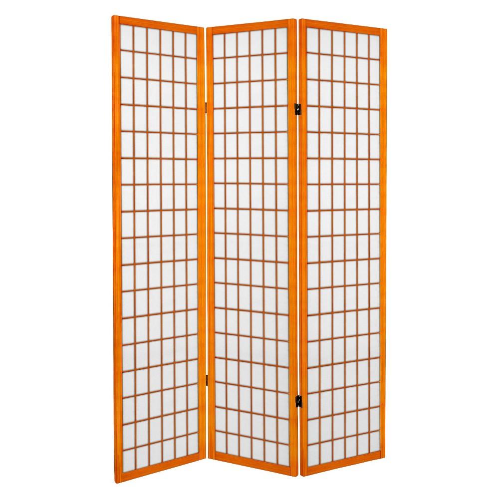 6 ft. Tall Canvas Window Pane Room Divider - Honey (3 Panels), Pumpkin