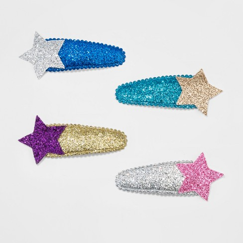 Girls' 4pk Shooting Star Clips and Barrettes - Cat & Jack™ Blue/Gold One Size - image 1 of 2