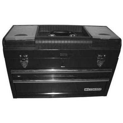 "WESTWARD 44ZJ87 20-1/2""W Steel, Black Portable Tool Box, Powder Coated, 14""H"