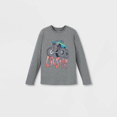 Boys' Monster Truck Graphic Long Sleeve T-Shirt - Cat & Jack™ Gray XXL