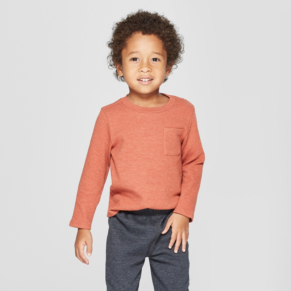 Toddler Boys' Tonal Strip Long Sleeve T-Shirt with Pocket - Cat & Jack Orange 12M