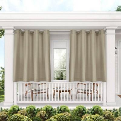 Set of 2 Indoor/Outdoor Solid Cabana Grommet Top Curtain Panels Taupe - Exclusive Home