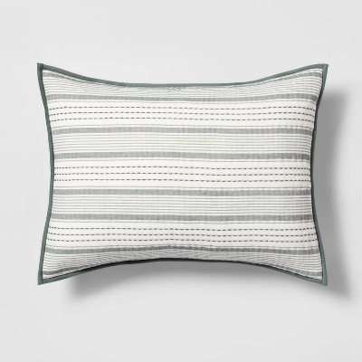Standard Textured Stripe Sham Green - Hearth & Hand™ with Magnolia