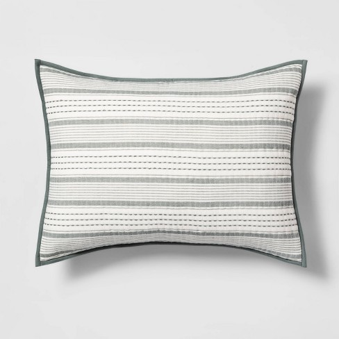 Textured Stripe Quilt Sham Green - Hearth & Hand™ with Magnolia - image 1 of 4