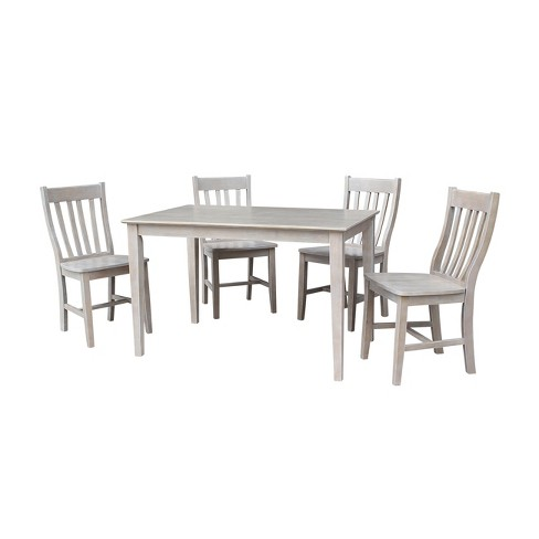 "Solid Wood 30"" X 48"" Dining Table and 4 Cafe Chairs Washed Gray Taupe (5pc Set) - International Concepts - image 1 of 4"