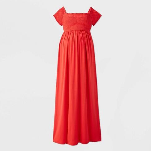 Short Sleeve Smocked Maternity Dress Isabel By Ingrid Isabel Red M Target
