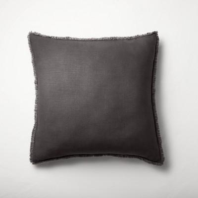 Euro Heavyweight Linen Blend Throw Pillow Washed Black - Casaluna™