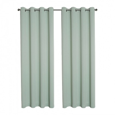 Kate Aurora Hotel Living 2 Pack 100% Blackout Grommet Top Sage Green Curtain Panels