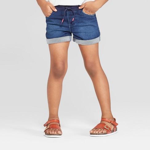 Toddler Girls' Rolled Hem Jean Shorts - Cat & Jack™ Blue - image 1 of 3
