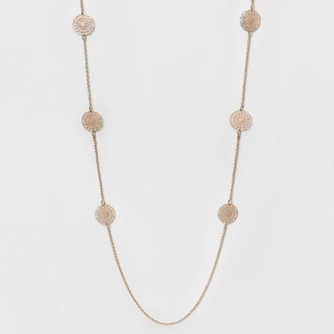 c20b0c41d07ba Women s Long Necklace With Eight Filigree Discs - Rose Gold (34 )   Target