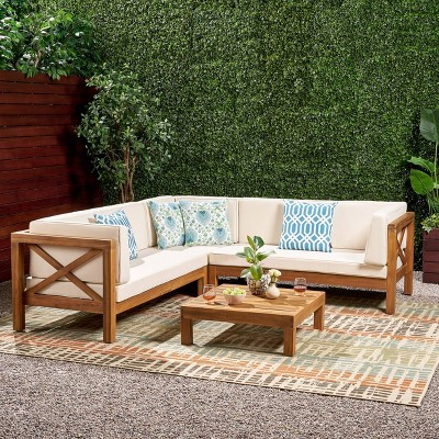 Brava 4pc Wood Patio Chat Set w/ Cushions - Beige - Christopher Knight Home